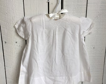 Vintage Baby Dress - Hand-Sewn White Cotton Voile - 12 Months