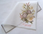 No ugly crying wedding handkerchief, mother of the bride wedding favor, floral hankerchief, flowers hankie, wedding gift, non-custom