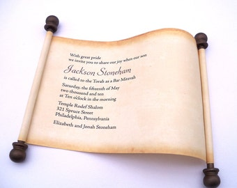 Bar Mitzvah invitation scroll, rustic invitation, scroll invitation, Bat Mitzvah invitation, aged vintage scroll, set of 10