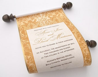 Urban elegance wedding invitation scrolls, brown and gold wedding, set of 10