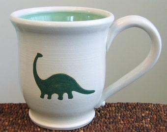 Dinosaur Mug - Brontosaurus Stoneware Pottery Coffee Cup 16 oz.