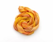 Hand dyed cotton perle #8 embroidery thread, yellow, peach, coral, salmon pink, red, orange, 30 metre (33 yard) skein, space dyed yarn