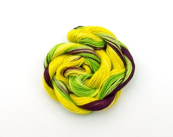 Hand dyed cotton perle #8 embroidery thread - acid yellow, lime green, neon, dark purple, space dyed yarn, sewing thread