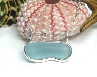 Aqua Blue Horizon Sea Glass Necklace | Sea Glass Jewelry | Sea Glass Necklace | Aqua Necklace | Beach Glass Jewelry | Women's Jewelry