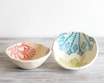 ceramic salad bowls, set of 2, blue, green, red