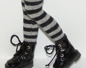 Thin Striped Tall Black And Gray Socks For Blythe...One Pair Per Listing...