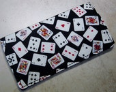 Checkbook Cover, Wallet,Playing Cards Print Fabric, Black, White