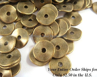 50 Flat Wavy Donut Antique Bronze Bead 10x1mm LF/CF/NF - 50 pc - M7028-AB50