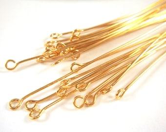 25 Eyepins 4 inch Gold Plated Brass (10.1cm), 21 Gauge - 25 pc - F4002EP-G425