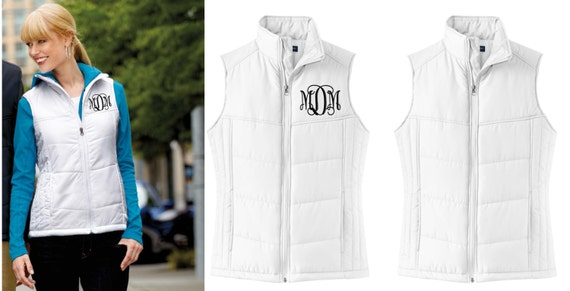 monogram puffer vest puffy quilted monogrammed gift for her