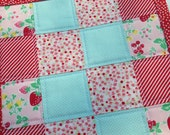 Quilted Postage Stamp Scrappy Strawberry Mini Quilt Bonnie and Camille Mug Rug Snack Mat Table Mat Dresser Mat Cottage Style Shabby Chic