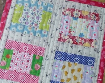 Quilted Table Mat Cute Table Runner Patchwork Table Mat Dresser Mat Cottage Quilt Cheery Table Mat Art Quilt Table Topper Cheery Mini Quilt