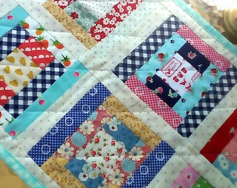 Vintage Style Runner Cute Table Runner Cheery Table Topper Cottage Quilt Table Mat Patchwork Table Mat Vintage Style Quilt Colorful Runner