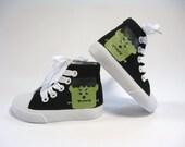Kids Frankenstein Shoes, Halloween Monster Black Hi Top Sneakers, Hand Painted for Baby or Toddlers