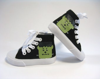 Frankenstein Shoes, Halloween Monster Black Hi Top Sneakers, Hand Painted for Baby or Toddlers
