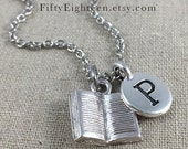 Book Charm Necklace With Personalized Initial, Book Lover Jewelry, Teacher Necklace, Silver Book Charm, Personalized Gift, Initial Jewelry