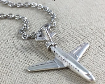 Airplane Charm Necklace, Flight Attendant Necklace, Travel Jewelry, Pilot Gift, Silver Airplane Charm Necklace