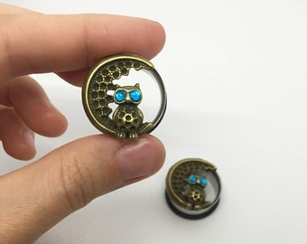 """7/8"""" (22mm) / Owl Moon Plugs Gauges Stretchers / Stretched Gauged Ears"""