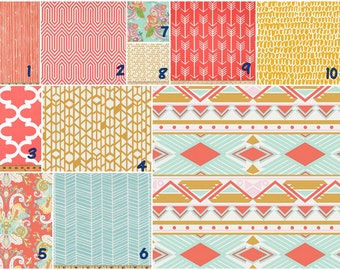 Coral Mustard aqua   Crib bedding set -  Design your own 3 pcs. SET Custom crib Bedding