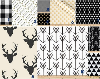 Black white gold  deer arrows -   Crib bedding set -  Design your own 3 pcs. SET Custom crib Bedding