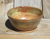 Pottery Small Size Bowl -  Light & Medium Brown and Green