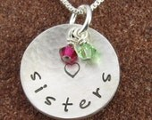 Hammered Sisters Sterling Silver Pendant with Swarovski Birthstone Crystals