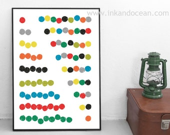Abacus Counting Art Print, mid century inspired art
