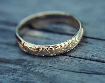 Yellow gold filled ring - floral band - simple band - wedding band - minimalist - vintage style - gold fill