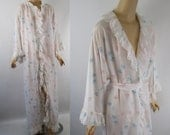 Vintage 1980s Givenchy Pastel Silk Ruffled Wrap Robe Dressing Gown Sz L