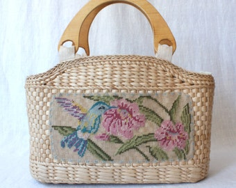 vintage straw bag / embroidered handbag / woven market bag