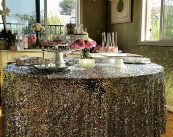 ON SALE SEQUINS Tablecloths Shapes Colors Tablecloths Sequins  Square, Rectangle, Round Tablecloth Silver, Gold, Purple, Red Turquoise Weddi