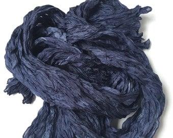 Navy Silk Scarf Hand Dyed Fiber Art OOAK Unisex from Textured Silks Collection - Midnight Blue