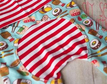 Maxaloones, Sushi, MiSo Cute,  cloth diaper pants, grow with me pants