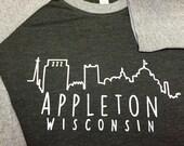 Appleton Wisconsin baseball 3/4 length tshirt - unisex next level tri-blend