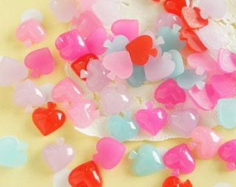 10 pcs Milky color Tiny Spade Cabochon (12mm13mm) DR521