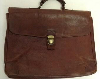 Tattered Distressed Vintage Leather Briefcase  bag