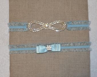 Blue Wedding Garter Set with Rhinestone Infinite Loop