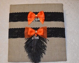 Black and Orange Motorcycle Wedding Garter Set