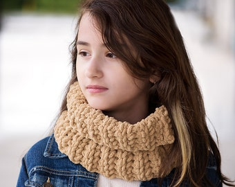 SALE Sand Beige Neck Warmer, Cowl, Ready to Ship