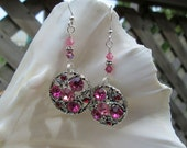 Vintage Upcycled Dangling Pink Rhinestone Earrings - One of A Kind