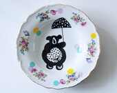 Bear on a bike large vintage redecorated plate
