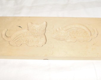 Vintage Hand Carved Wooden Cookie Butter Mold Press Cat Mouse