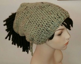 Frosted Green Fleck Dread Sock Tam/Winter Hat