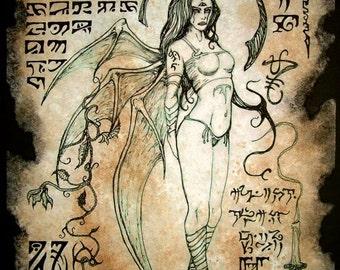 LILITH succubus Necronomicon page occult demon magick dark spirit vampire horror