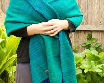 Hand dyed, hand woven merino shawl/wrap