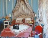 Paris Art, Paris Bedroom Decor, Painting of Interior, Canopy Bed, Chanel, Blue Decor, Paris Print, Reproduction, Elegant French Interior