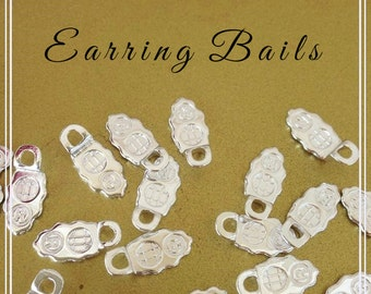 96 Small   Silver Plated  Aanraku Earring Bails Glue On 9x6mm Pad Jewelry Findings Leaf