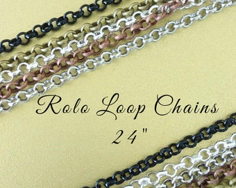 5  ROLO Loop Chains 24 inches Necklaces 2mm Lobster Claw Silver Plated Black Antique Brass Copper