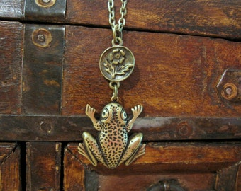 Frog Necklace, Frog Prince, Woodland Animal, Whimsical, Kiss a Frog, Antique Brass, Amphibian, Jewelry for Teens, Flower, For Her