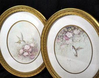 Set of Two Margie Morrow Hummingbird Pictures Framed Print Wall Art Homco Gold Frame